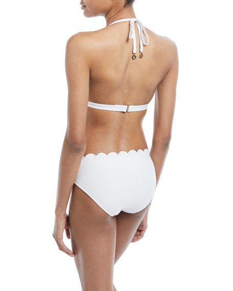 scallop textured triangle swim top