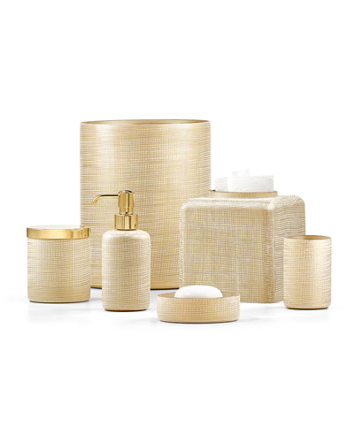 Woven Wastebasket, Gold and Matching Items