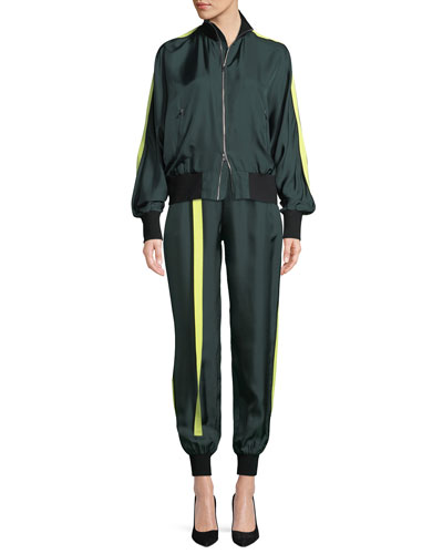 Silk Zip-Front Track Jacket and Matching Items