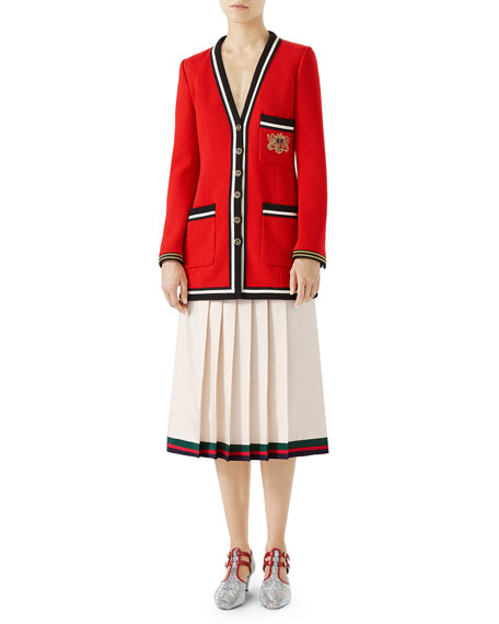 Wool Sable Jacket with Web-Trim & Embroidery