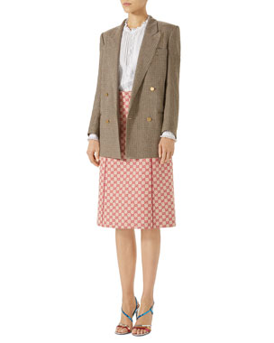 a10c55b60029 Gucci Double-Breasted Micro-Houndstooth Linen Jacket GG Canvas Skirt with  Leather Piping