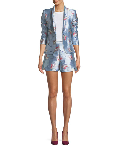 Macey One-Button Bird-Print Satin Jacket and Matching Items