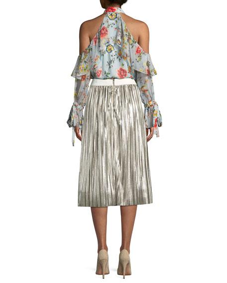 Blayne Cold-Shoulder Floral-Print Silk Blouse