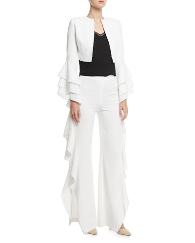 Presley Open-Front Ruffle-Sleeve Short Silk Blazer and Matching Items