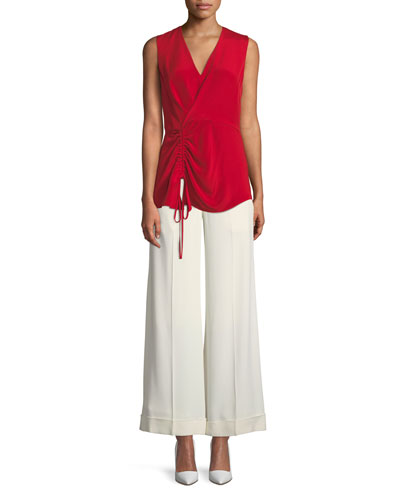 V-Neck Sleeveless Asymmetrical-Ruched Silk Blouse and Matching Items