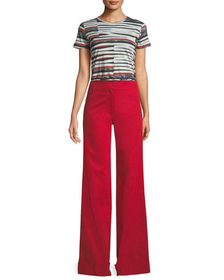 Abstract Bold-Stripe Short-Sleeve T-Shirt