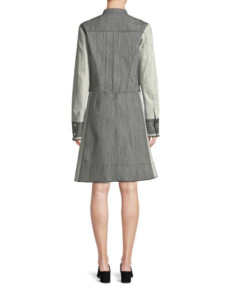 Bicolor Snap-Front Cropped Denim Jacket