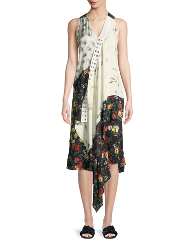 Sleeveless Mixed-Print Asymmetric Silk Top and Matching Items