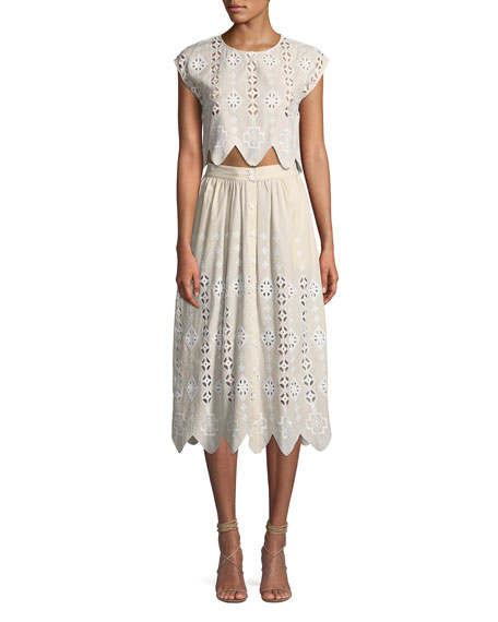 Deva Geometric Eyelet Cap-Sleeve Crop Top