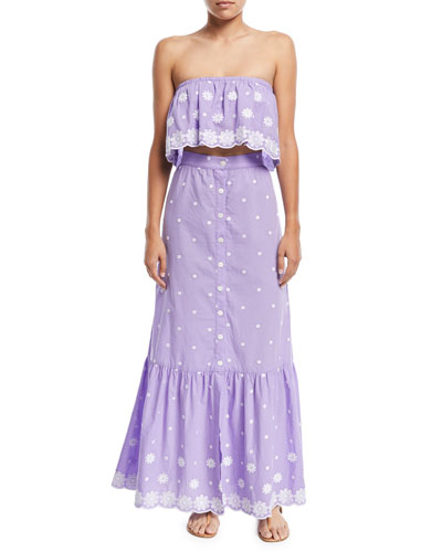 Aiden Button-Front A-Line Daisy Cotton Embroidered Maxi Skirt and Matching Items
