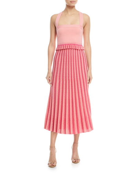 Square-Neck Knit Crop Top with Pleated Ruffle Hem
