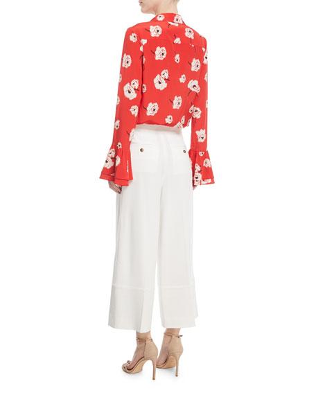 Long-Sleeve Button-Front Floral-Print Silk Shirt w/ Ruffle Cuff