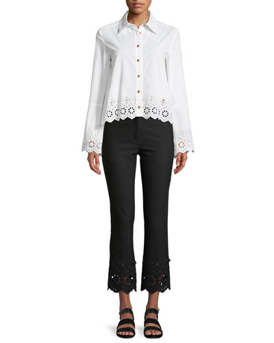 Long-Sleeve Button-Down Shirt with Eyelet Embroidery and Matching Items