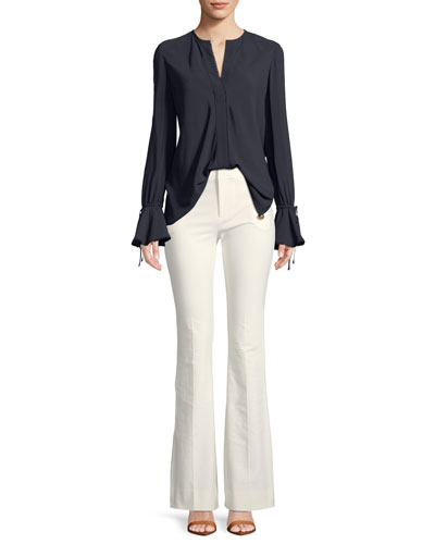Bell-Sleeves Button-Down Blouse with Scalloped Trim and Matching Items
