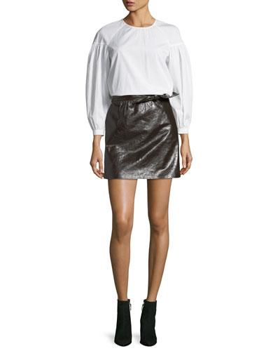 Baizen Crewneck Puff-Sleeve Cotton Top and Matching Items