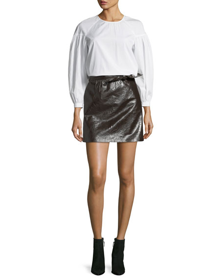 Baizen Crewneck Puff-Sleeve Cotton Top