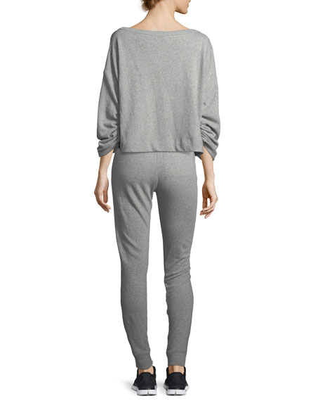 Ember Boat-Neck Ruched-Sleeve Sweatshirt