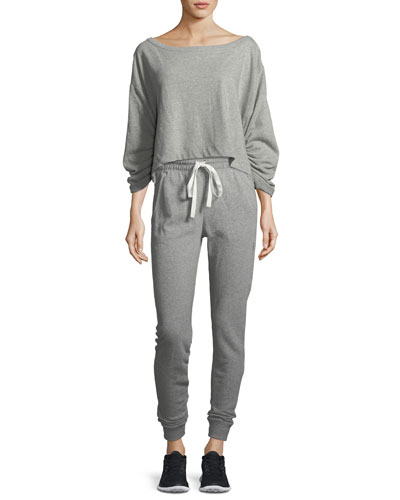 Ember Boat-Neck Ruched-Sleeve Sweatshirt and Matching Items