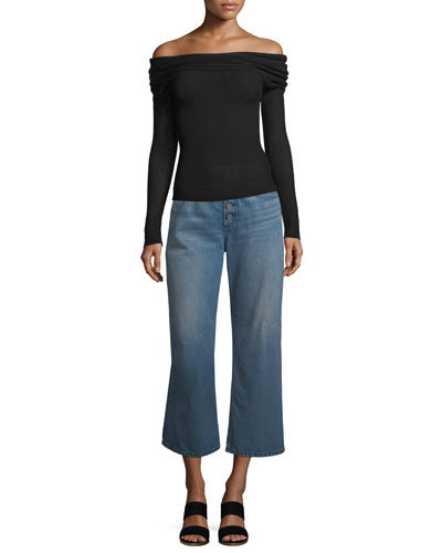 Allegra Off-the-Shoulder Long-Sleeve Mesh-Knit Sweater and Matching Items