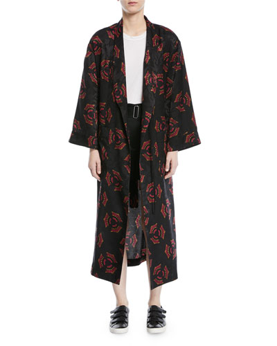 York Printed Silk Robe Jacket and Matching Items