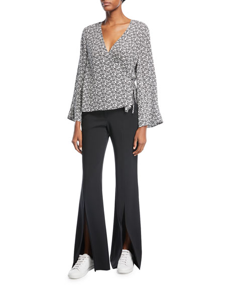 Ray Deep-V Bell-Sleeve Printed Silk Top