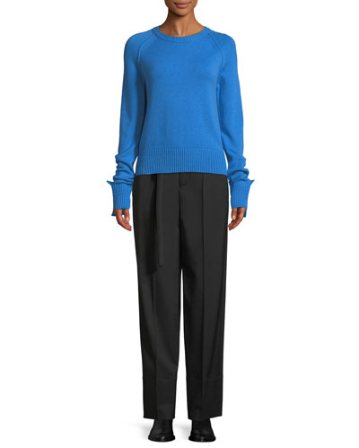 Shrunken Crewneck Cashmere Knit Sweater and Matching Items