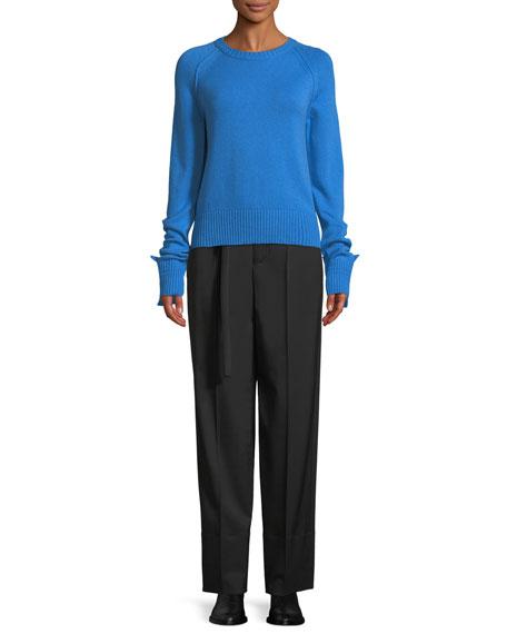 Shrunken Crewneck Cashmere Knit Sweater