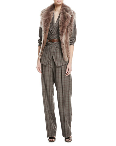 Zip-Front Shearling Fur Moto Vest and Matching Items
