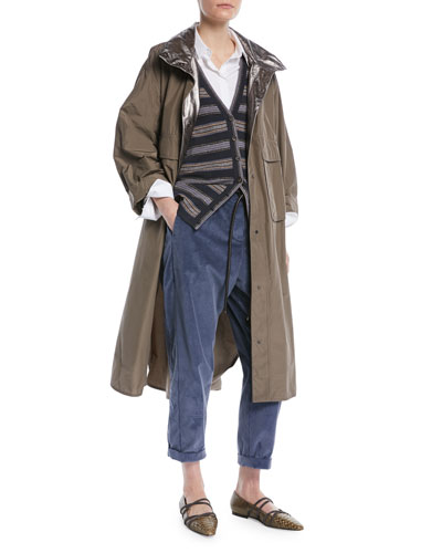 Taffeta Trench Coat w/ Metallic Inner Trim  and Matching Items