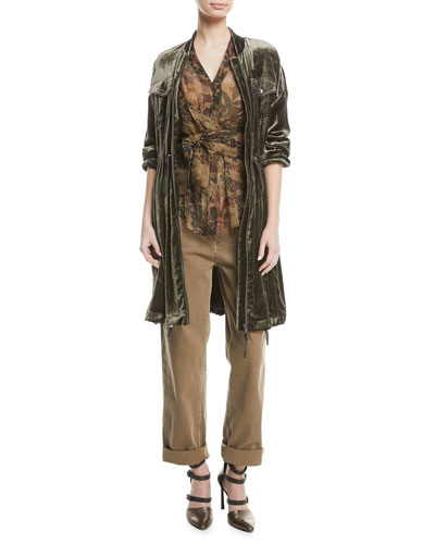 Zip-Front Drawstring-Waist Long-Sleeve Liquid Velvet Jacket and Matching Items