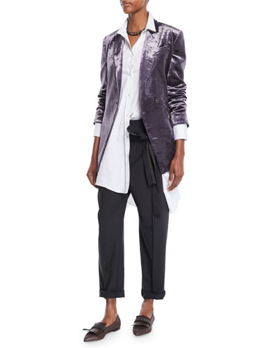 One-Button Velvet Blazer w/ Monili Pockets and Matching Items