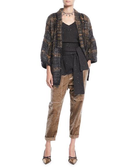 V-Neck 3/4-Sleeve Sequin Cashmere-Silk Sweater w/ Wrap Belt