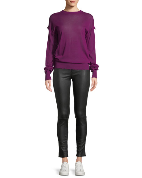 Crewneck Long-Sleeve Cashmere Fray Sweater
