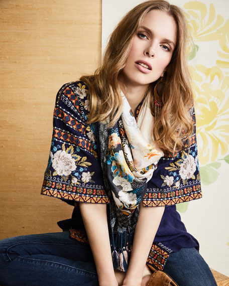 Hira Embroidered Linen Kimono, Plus Size