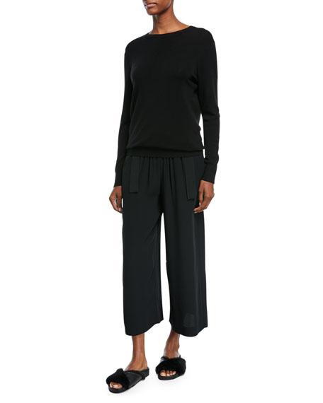 Slit-Back Long-Sleeve Merino Wool Sweater