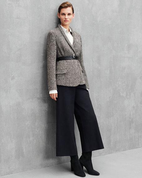 Shawl-Collar Herringbone Jacket w/ Wrap Belt