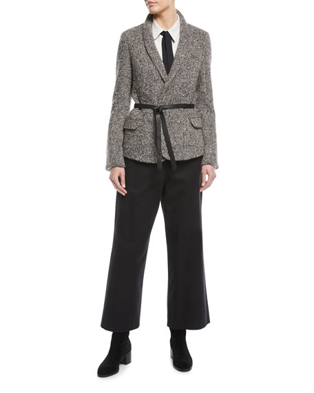 Shawl-Collar Herringbone Jacket w/ Wrap Belt