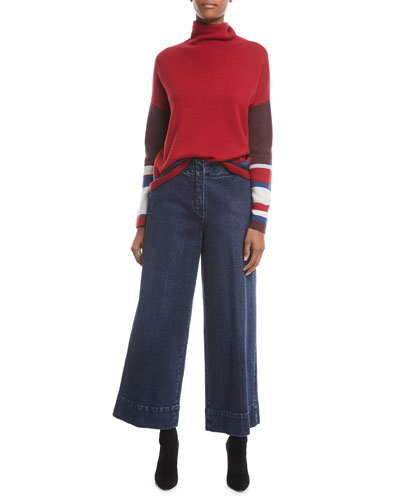 Wide-Leg Denim Pants and Matching Items