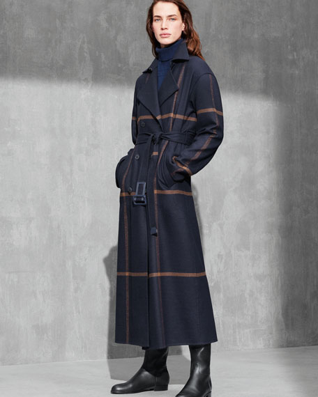 Double-Breasted Windowpane Check Wool Maxi Coat