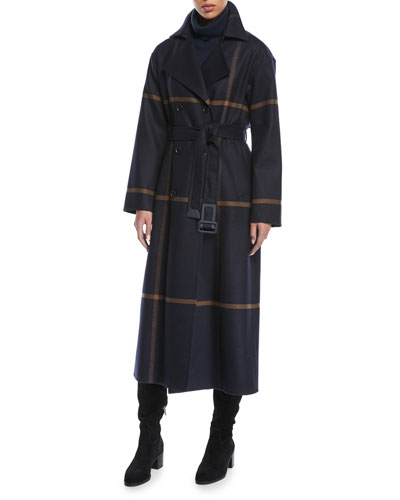 Double-Breasted Windowpane Check Wool Maxi Coat and Matching Items