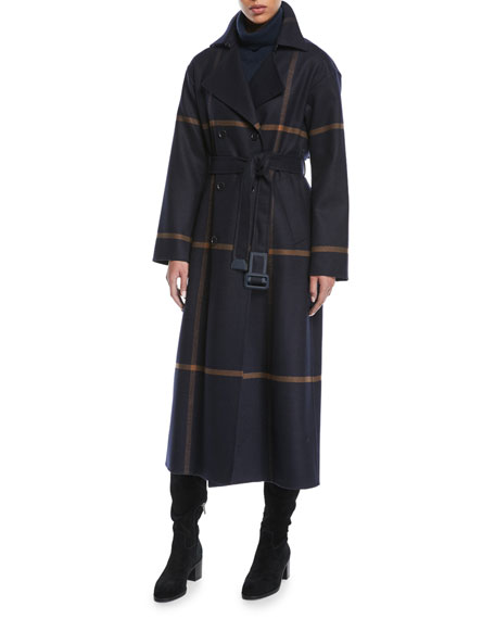 Double-Breasted Windowpane Check Wool Maxi Coat