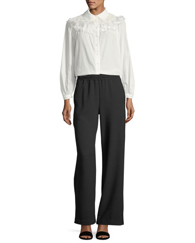 Button-Front Cotton Blouse with Ruffled Trim and Matching Items