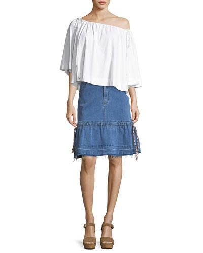 Bateau-Neck Billowy Cotton Blouse and Matching Items