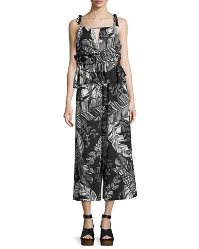 Sleeveless Palm-Print Ruffled Cotton Blouse and Matching Items