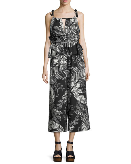 Sleeveless Palm-Print Ruffled Cotton Blouse
