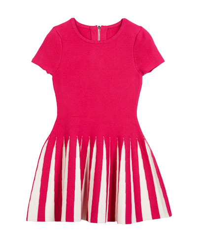 Pleated Contrast Flare Dress, Size 4-7  and Matching Items