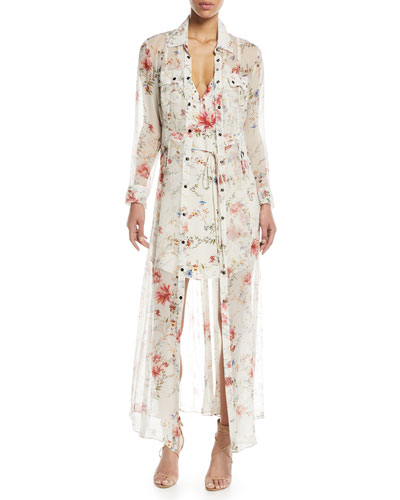 Last-Draw Floral-Print Snap Front Gown and Matching Items