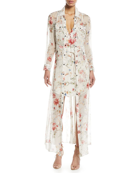 Last-Draw Floral-Print Snap Front Gown