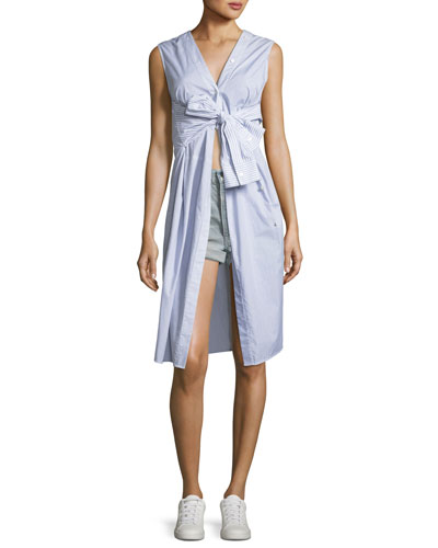 Sleeveless Tie-Front Striped Shirting Midi Dress and Matching Items
