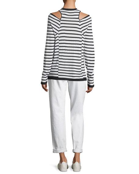 Wash & Go Crewneck Cutout-Shoulder Long-Sleeve Striped Top